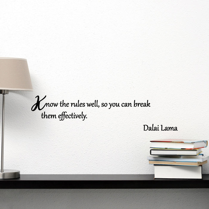 Vinyl Wall Decal Know The Rules Dalai Lama Inspirational Motivational Quote Saying Words Phrase ig6231 (22.5 in X 6 in)