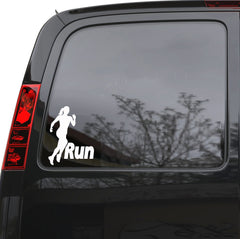 "Auto Car Sticker Decal Run Girl Running Woman Sports Truck Laptop Window 5"" by 6.5"" Unique Gift 187igc"