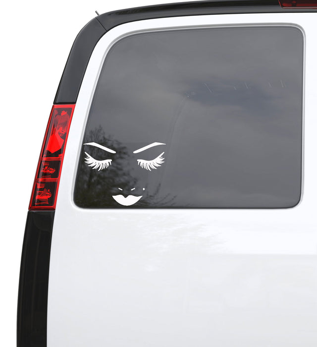 "Auto Car Sticker Decal Sexy Woman Face Eyelashes Eyes Lips Truck Laptop Window 6.6"" by 5"" Unique Gift 898igc"