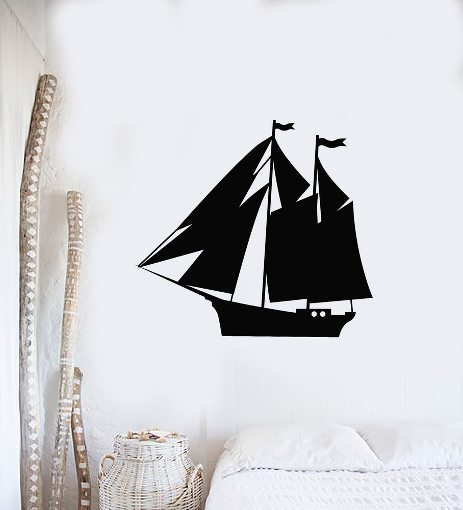 Vinyl Wall Decal Seagoing Ship Wave Nautical Art Sail Sea Marine Stickers Mural (g1042)