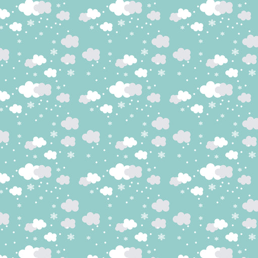 Wallpaper Reusable Removable Snow Clouds White Blue Kids Interior AN001