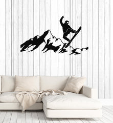 Snowboarder Vinyl Wall Decal Mountains Snowboarding Silhouette Winter Sport Stickers Mural (ig5333)