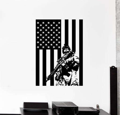Wall Vinyl US Soldier Marine USA Flag Guaranteed Quality Decal Unique Gift (z3427)