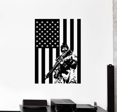 Wall vinyl us soldier marine usa flag guaranteed quality decal unique gift z3427