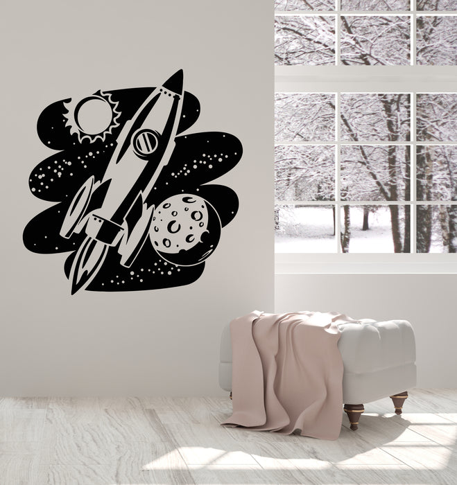 Vinyl Wall Decal Rocket Space Cosmic Astronaut Kid's Room Stickers Mural (g2646)