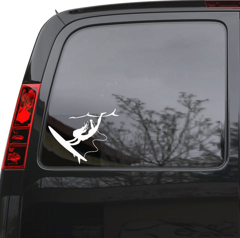 "Auto Car Sticker Decal Surfing Girl Beach Surfer Sports Truck Laptop Window 6.4"" by 5"" Unique Gift ig4161c"