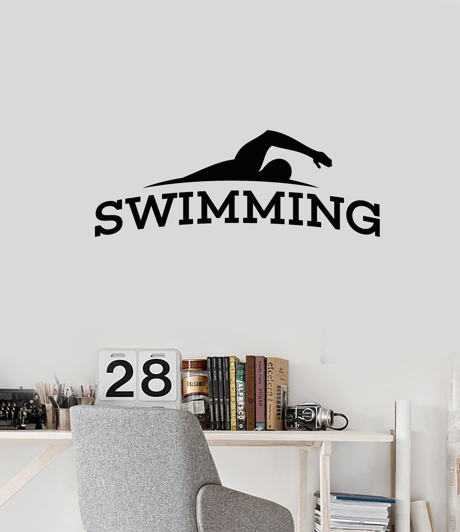 Vinyl Wall Decal Swimming Pool Word Swimmer Swim Teen Room Decor Stickers  Mural (ig6120)