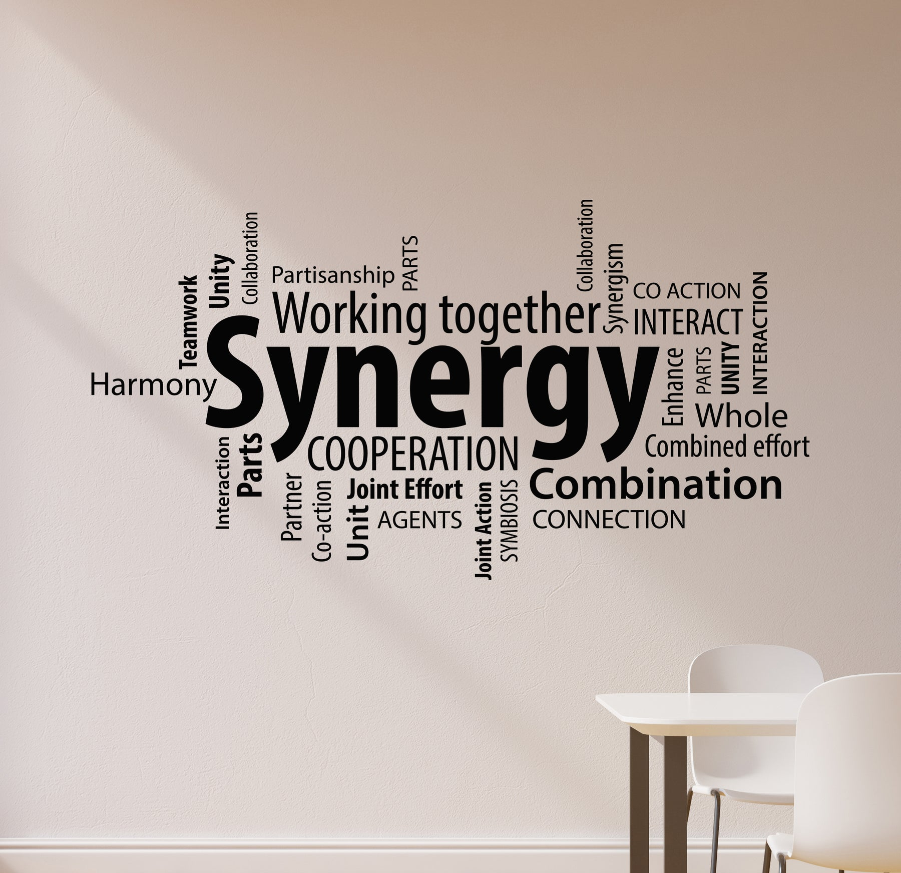 Vinyl Wall Decal Synergy Teamwork Team Work Office Words Cloud Stickers Mural (ig6224)