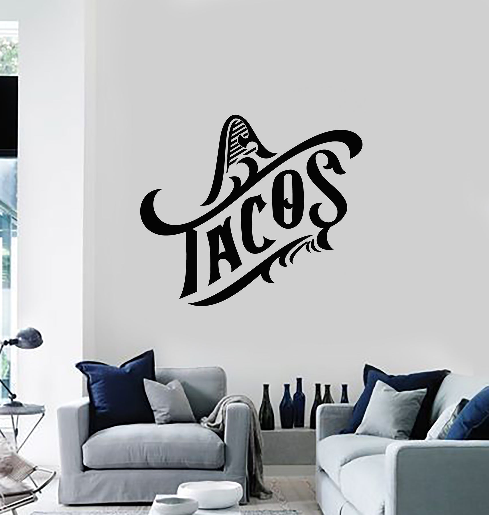 1 Vinyl Wall Decal Tacos Mexican Cuisine Food Sombrero Stickers