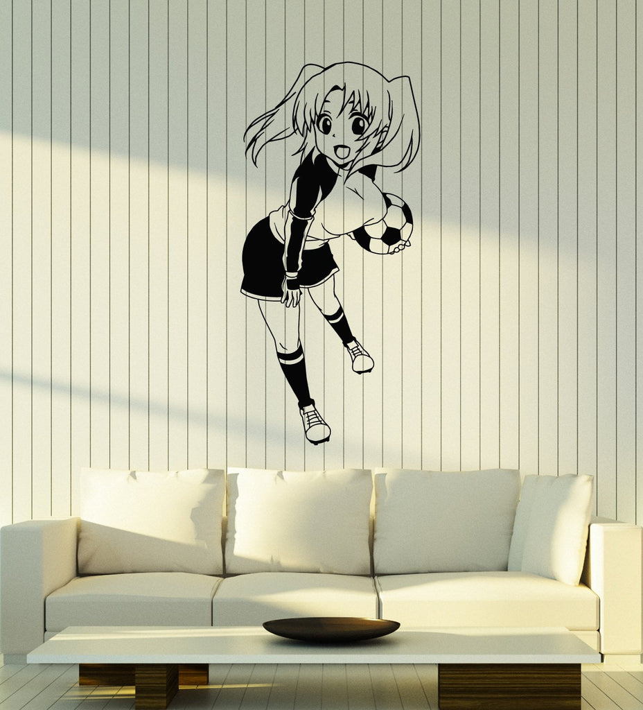 Vinyl Wall Decal Teen Anime Girl With Soccer Ball Sports Art Stickers U2013  Wallstickers4you