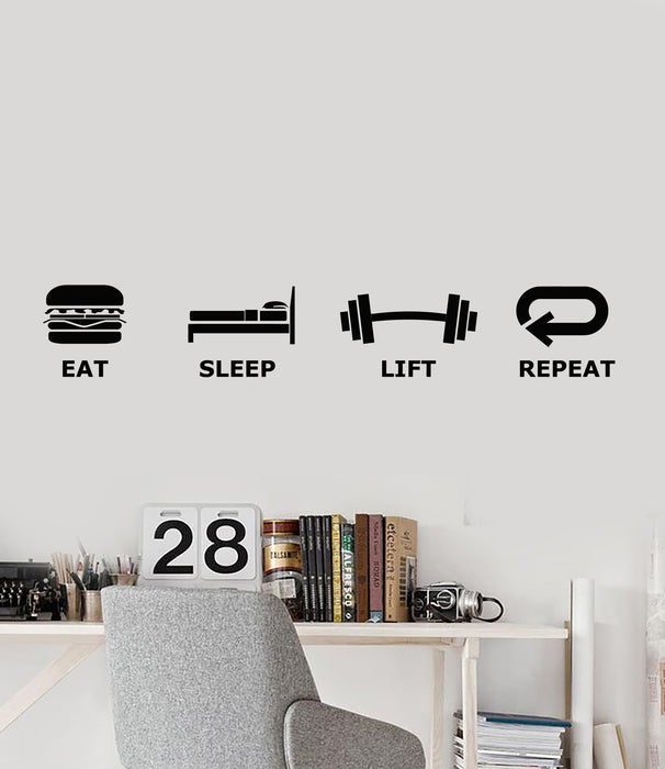 Vinyl Wall Decal Teen Room Decor Game Zone Eat Sleep Lift Repeat Stickers Mural (g2218)