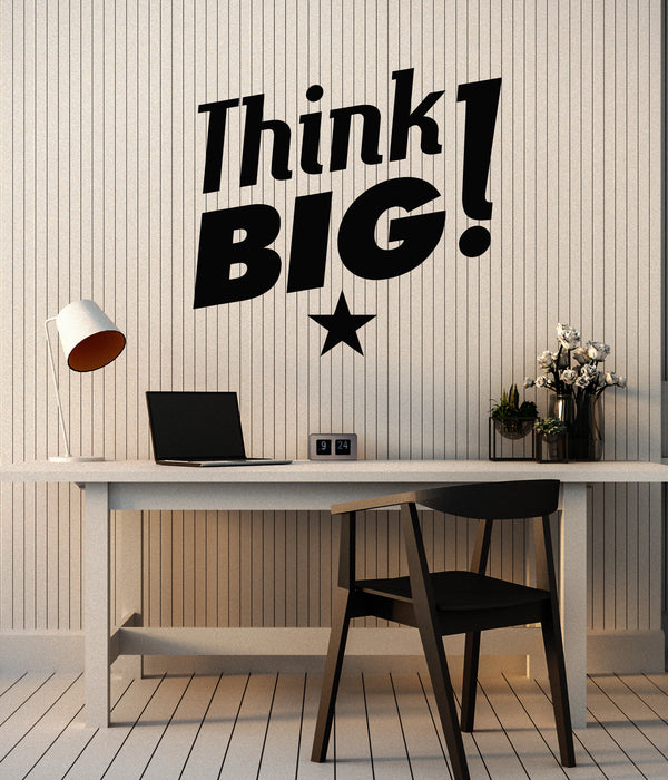 Vinyl Wall Decal Think Big Office Space Room Inspirational Phrase Stickers Mural (g2101)