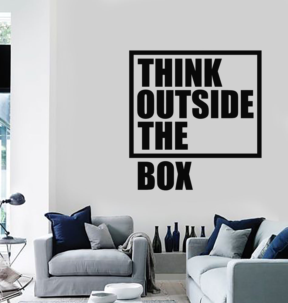 Vinyl Wall Decal Think Outside The Box Inspiration Phrase Work Stickers Mural (g2634)