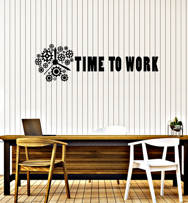 Vinyl Wall Decal Time to Work Gears Clock Office Motivational Phrase Business Success Stickers Mural (ig6199)