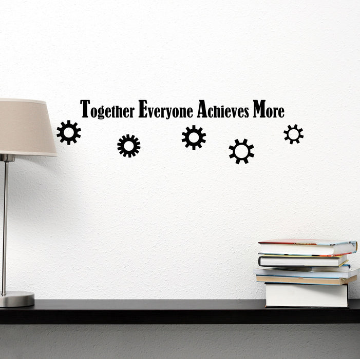 Vinyl Wall Decal Team Teamwork Together Everyone Achieves More Quote Office Stickers ig6220 (22.5 in X 6 in)