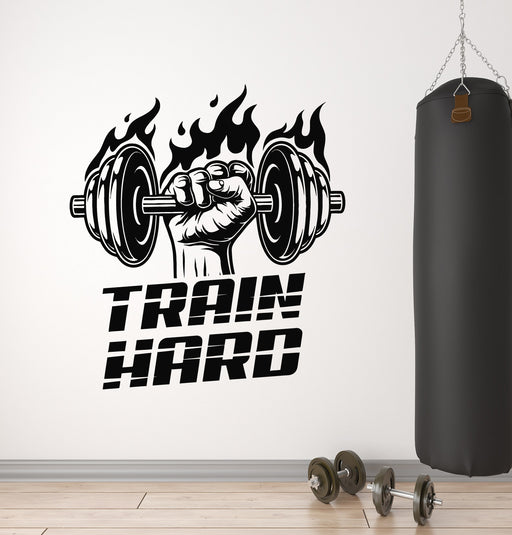Vinyl Wall Decal Bodybuilding Hands Fitness Gym Iron Sport Stickers 023ig