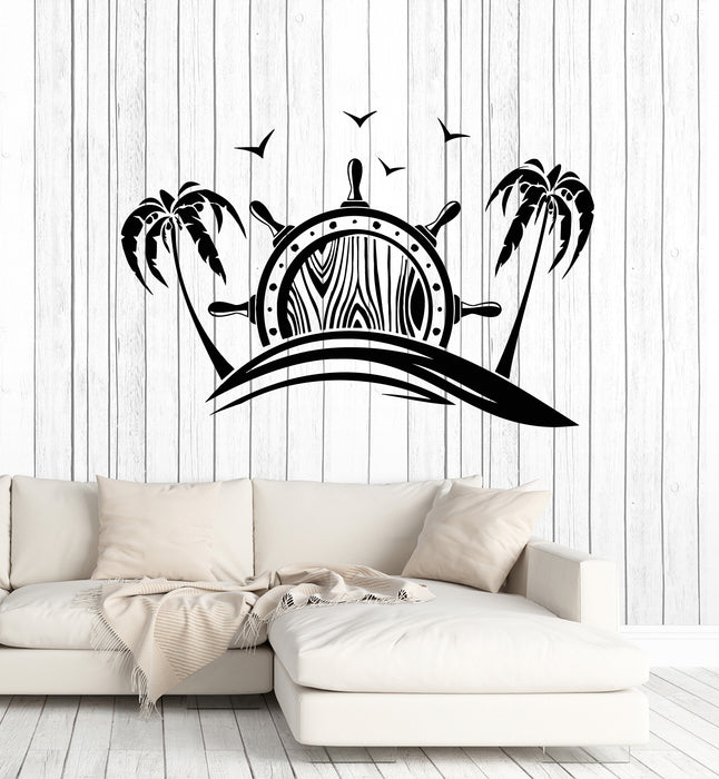 Vinyl Wall Decal Vacation Time To Travel Ocean Sea Beach Palm Anchor Stickers Mural (g2449)