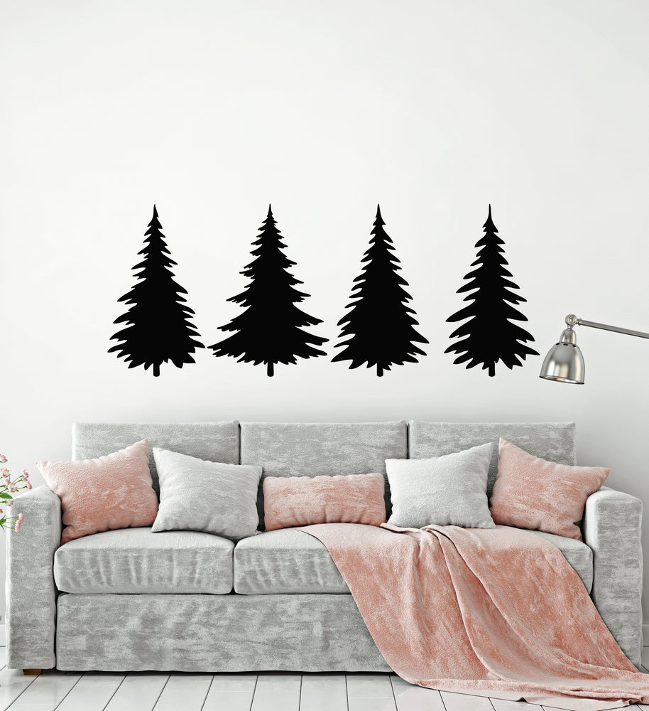 Vinyl Wall Decal Nature Forest Spruce Trees Fir Nature Decor Stickers Mural (g793)