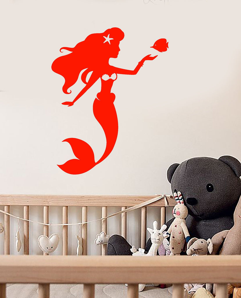 Vinyl Wall Decal Cartoon Mermaid Ariel Fish Nursery Decor Stickers Unique Gift (1623ig)  sc 1 st  Wallstickers4you : ariel wall decal - www.pureclipart.com