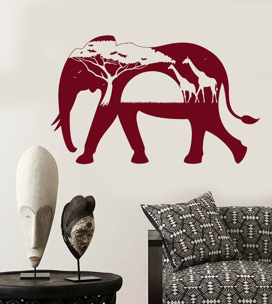 Wall Stickers Elephant African Animals Landscape Tree Mural Vinyl Decal ig1918