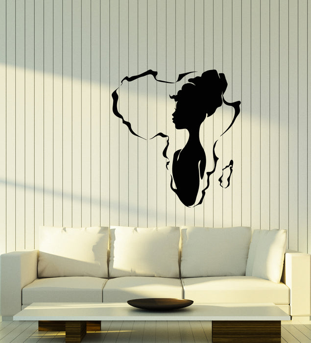 Vinyl Wall Decal African Girl Native Beauty Africa Continent Stickers (3912ig)