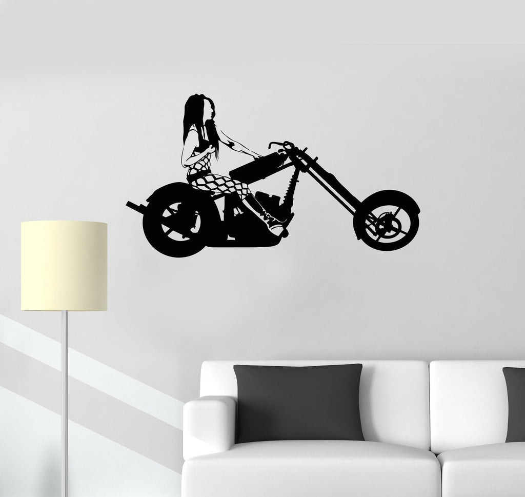 Vinyl Decal Biker Woman Motorcycle Racing Sports Girl Room Wall Stickers Unique Gift (ig2652)