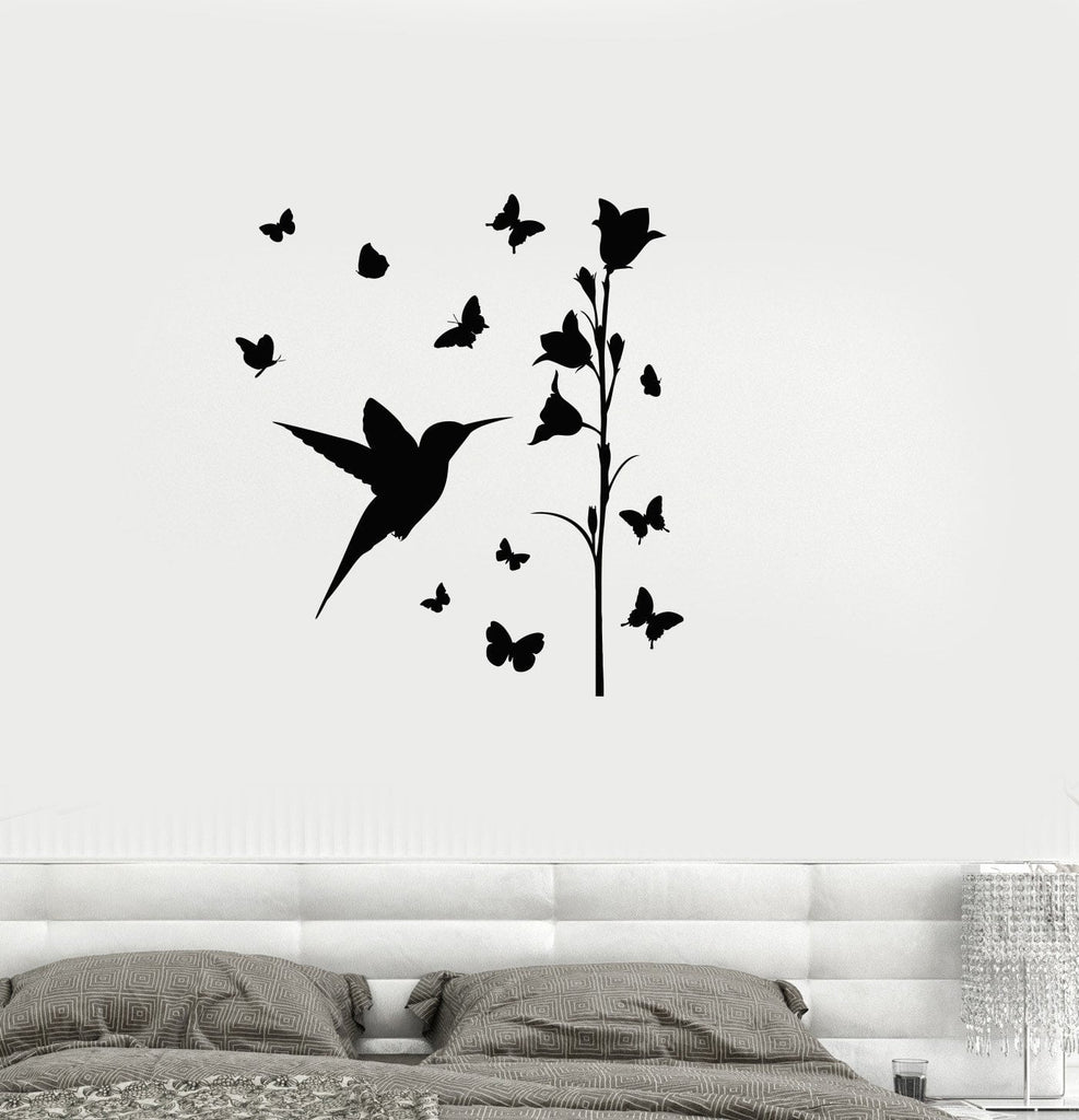 Vinyl Decal Bird Butterfly Flower Beautiful Bedroom Decor Wall Stickers  (ig2699)