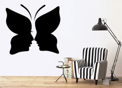 Vinyl Decal Butterfly Woman Face Beauty Salon Girl Room Wall Stickers Unique Gift (ig2712)
