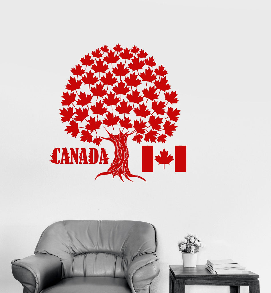 Vinyl Decal Canada Maple Tree Symbol Canadian Flag Wall Stickers Mural Unique Gift (ig2716) & Vinyl Decal Canada Maple Tree Symbol Canadian Flag Wall Stickers ...