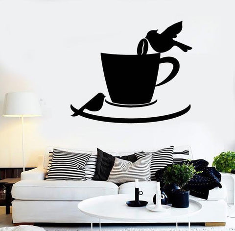 Vinyl Decal Coffee Cup Birds Cafe Kitchen Decor Wall Stickers Mural (ig2725)