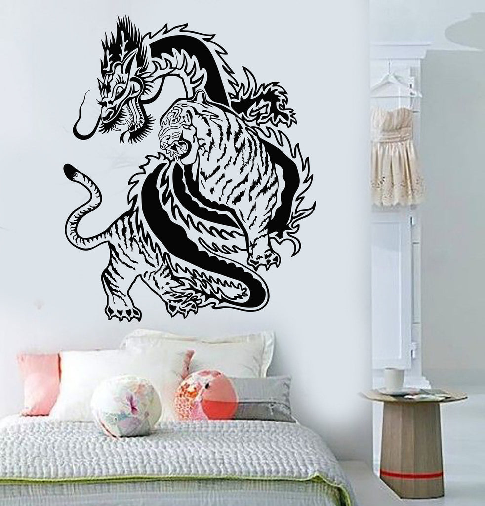 Vinyl Wall Decal Chinese Dragon Tiger Fight China Asian Art - Custom vinyl wall decals dragon