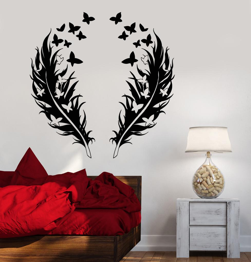 Vinyl Wall Decal Feathers Butterfly Love Romantic Bedroom Design Stickers  Unique Gift (866ig)