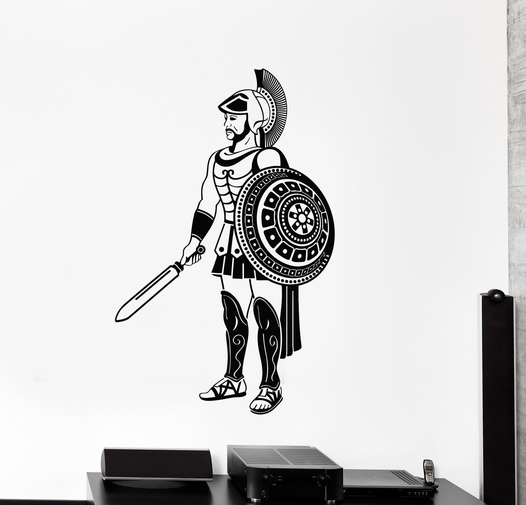 Vinyl Wall Decal Ancient Greek Warrior Greece Sword and Shield Stickers Mural Unique Gift (ig4959)