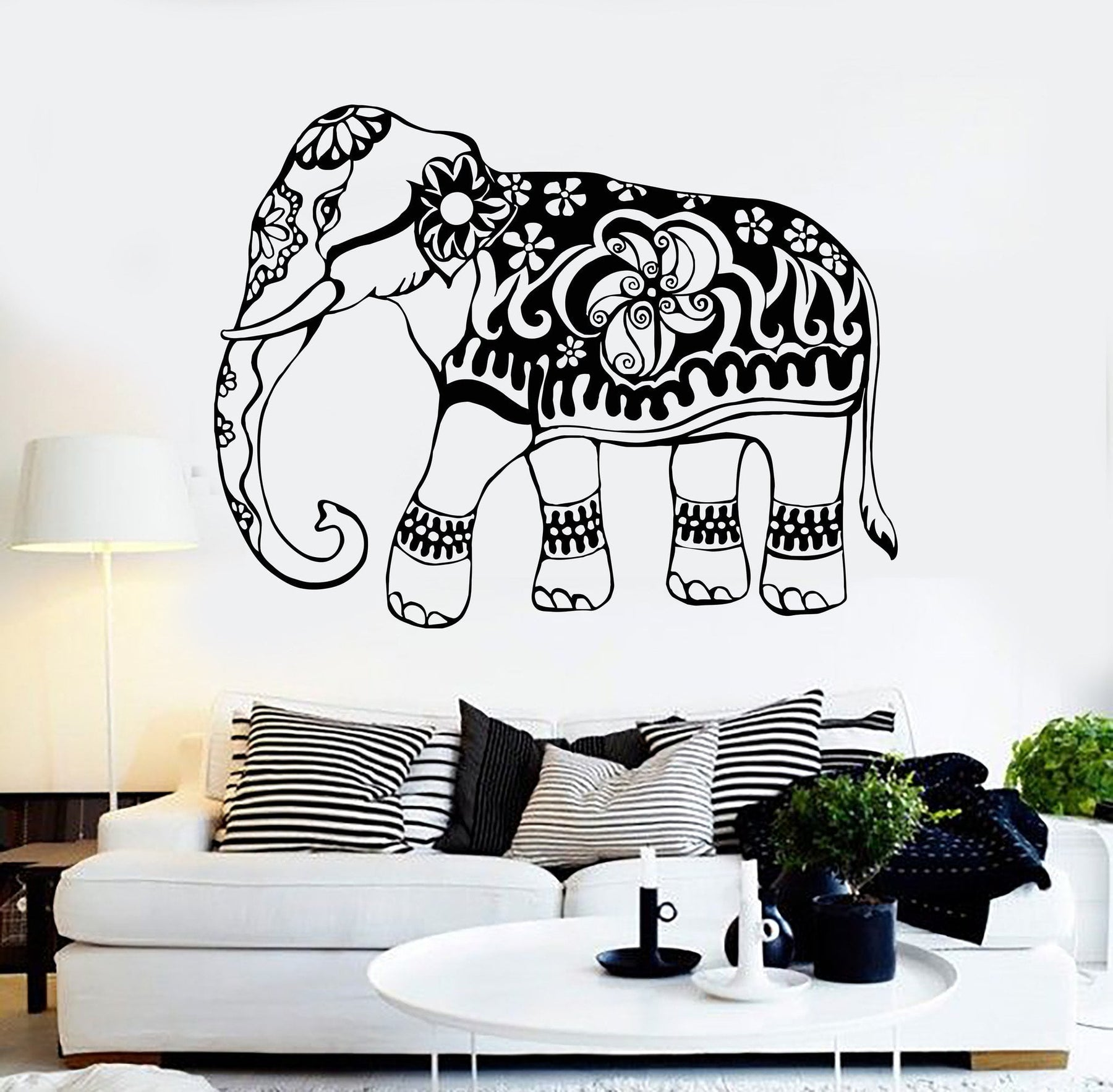 Vinyl Wall Decal India Elephant Animal Ornament Stickers Mural Unique Gift 150ig