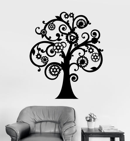 Vinyl Wall Decal Mechanical Tree Steampunk Gears Stickers Unique Gift (ig4187)