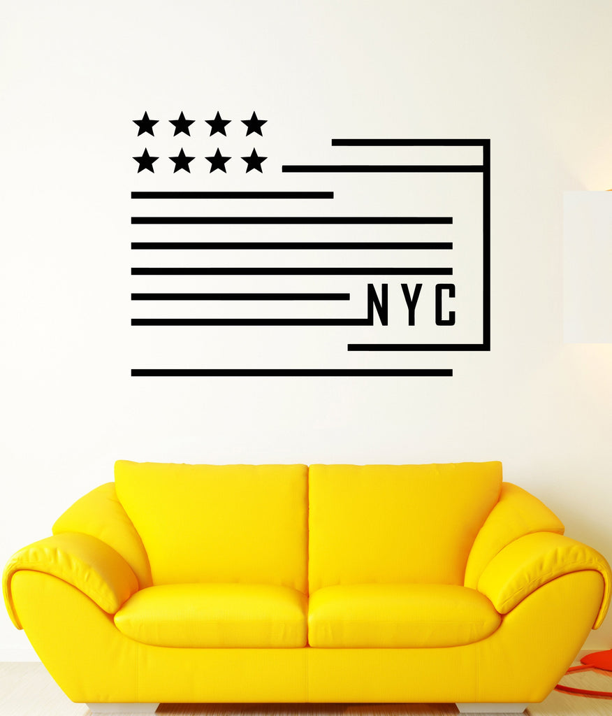Vinyl Wall Decal American Abstract Flag New York City Stickers Unique Gift (1941ig)
