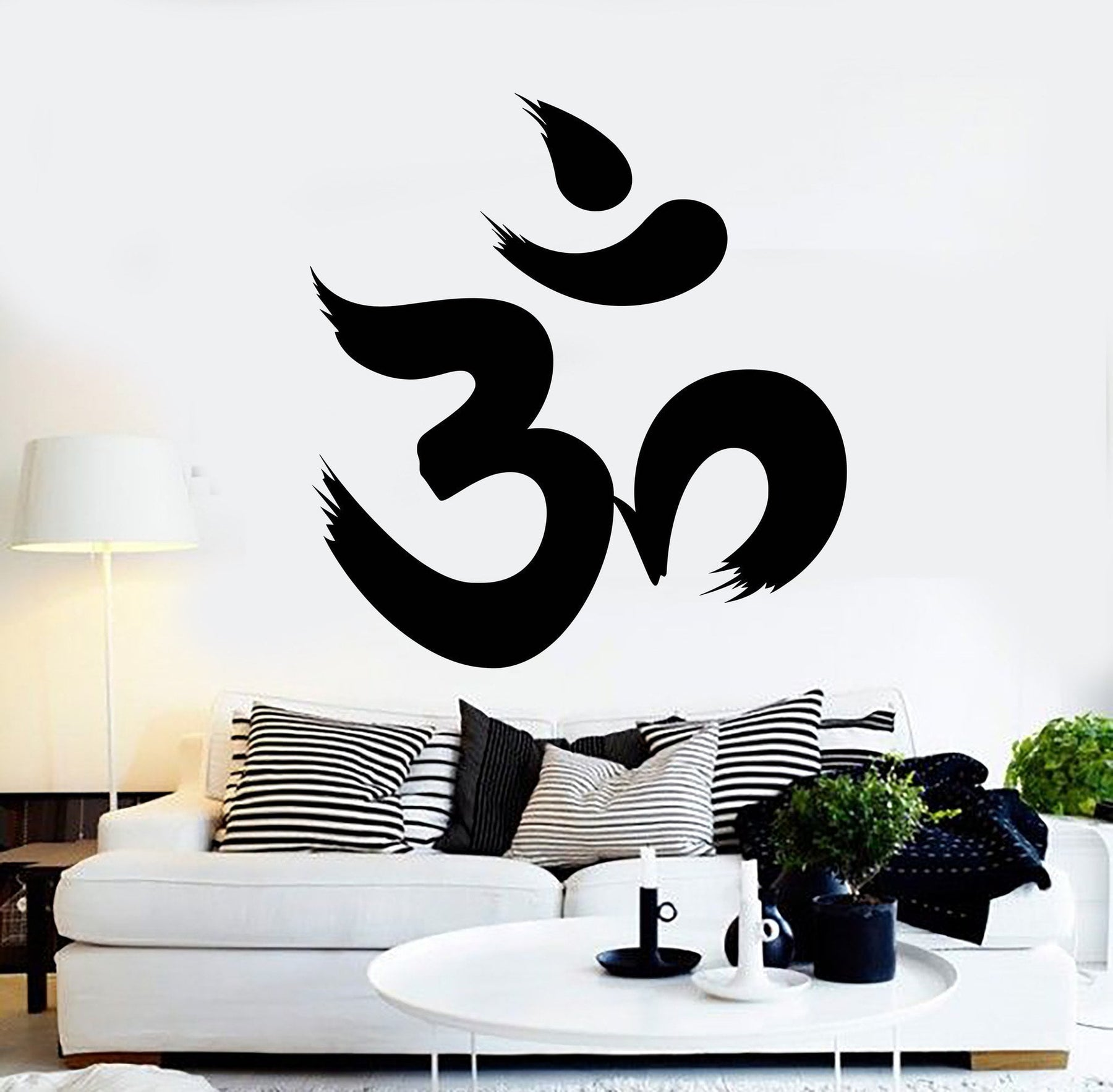 Hindu Vinyl Wall Decal Om Character Sanskrit  Hinduism Stickers Unique Gift (151ig)