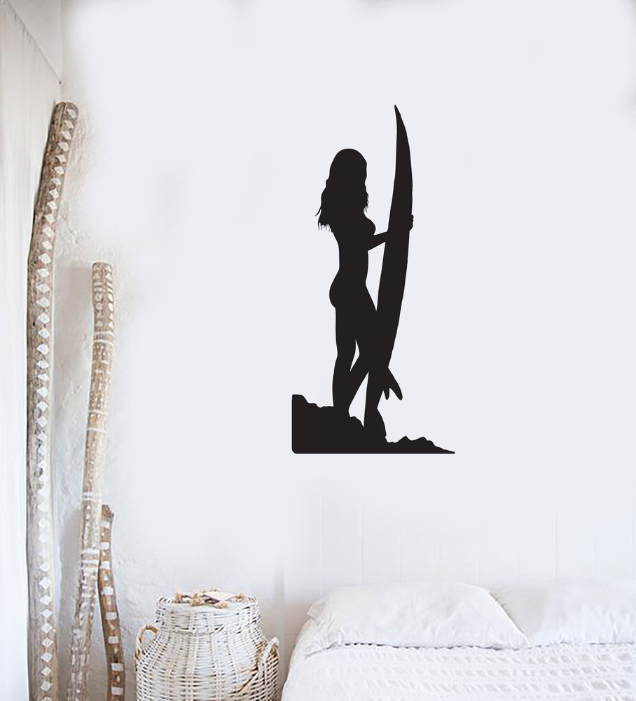 Tropical Beach House Decor Sexy Girl Surf Board Wall Sticker Vinyl Decal Unique Gift (z1183)