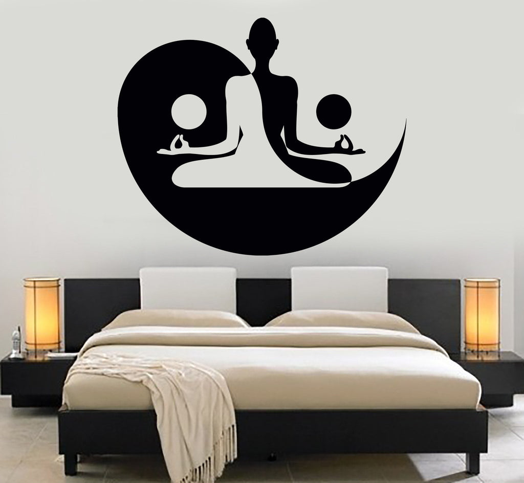 Vinyl wall decal yin yang yoga zen meditation bedroom for Decoration murale yin yang