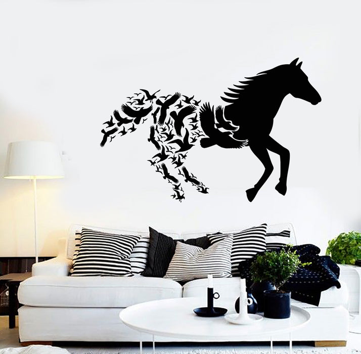 Vinyl Wall Decal Abstract Animals Galloping Horse Racing Birds Stickers Unique Gift (2061ig)