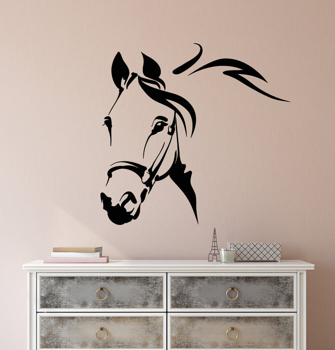Vinyl Wall Decal Abstract Head Horse House Animal Pet Stickers (2591ig)