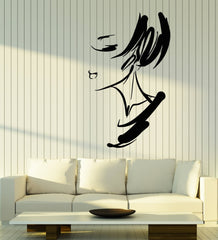 Vinyl Wall Decal Abstract Girl Lady Face Art Hairstyle Stickers (2669ig)