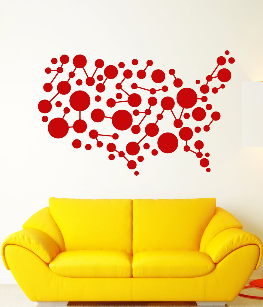 Vinyl Wall Decal Abstract World Map Balloons Cell Room Decoration ...