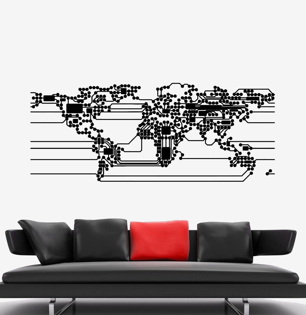 Vinyl Wall Decal Abstract World Map Earth Computer Microchip - Vinyl wall decals abstract