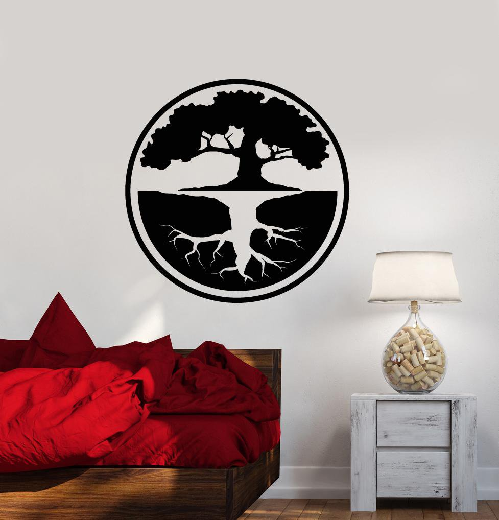 Vinyl Wall Decal Tree Of Life Yin Yang Buddhism Bonsai Asian Style - Vinyl wall decals asian