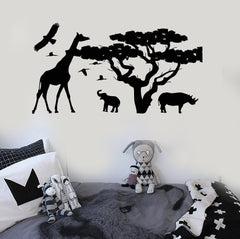 Vinyl Wall Decal African Animals Tree Nature Kids Room Stickers Unique Gift (ig3911)