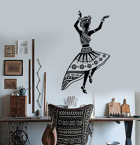 Vinyl Wall Decal African Woman Dancer Native Turban Girl Stickers Unique Gift (1483ig)