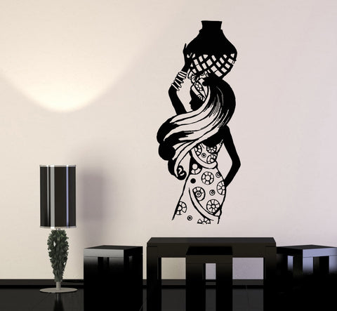 Vinyl Wall Decal African Woman Black Lady Africa Ethnic Style Stickers (1056ig)