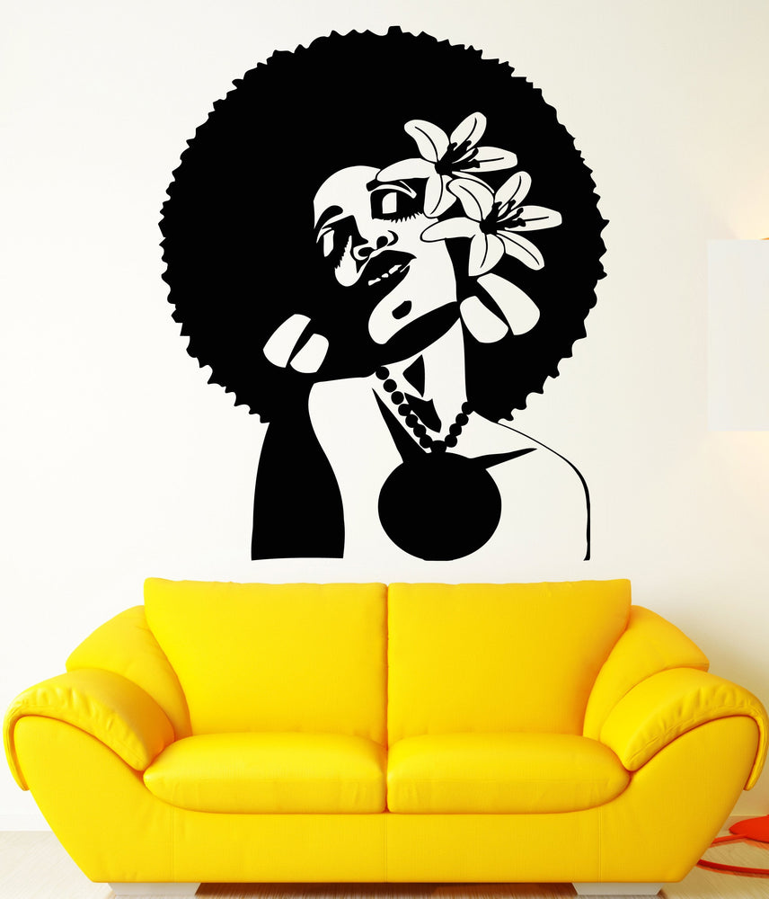 Vinyl Wall Decal African Woman Hairstyle Flowers In Hair Black Lady Stickers (2164ig)