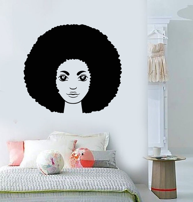 Vinyl Wall Decal African Hairstyle Hair Woman Black Girl Head Stickers Unique Gift (2025ig)